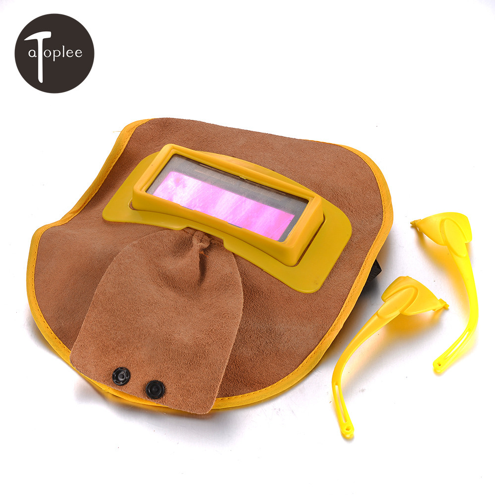 цена на Protable Leather Hood Welding Helmet Mask Solar Filter Lens Auto Darkening Welder Eyes Protection Leather Mask Welder Goggles