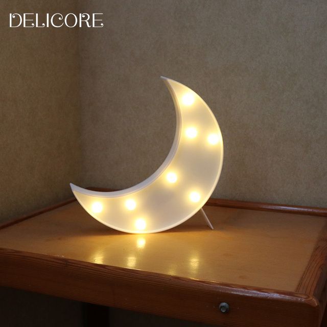 Delicore Novelty Moon Night Light Children Bedroom Nursery Lamp Mini Emitting Room Decor