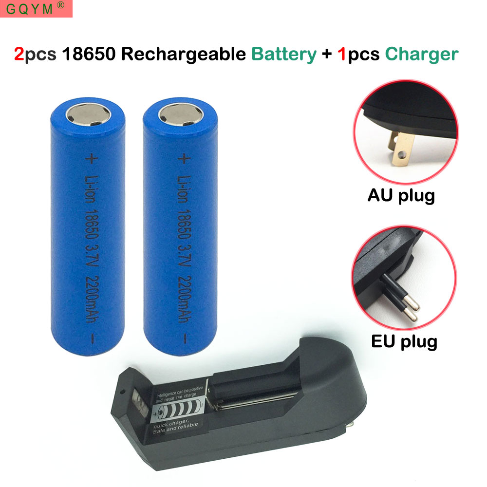 GQYM 2 pcs 18650 Battery 3.7V 2200mAh Rechargeable li-ion battery + one charger for Power Bank Led flashlight batery 18650