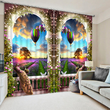 Senisaihon 3D Blackout Curtains Europe Architecture Doorframe Scenery Pattern Fabric Washable Bedroom Curtains for Living Room