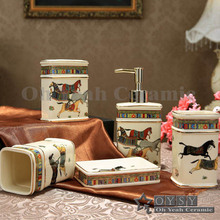 OYSY Bathroom Sets Ivory Porcelain Five Piece Bathroom Sets