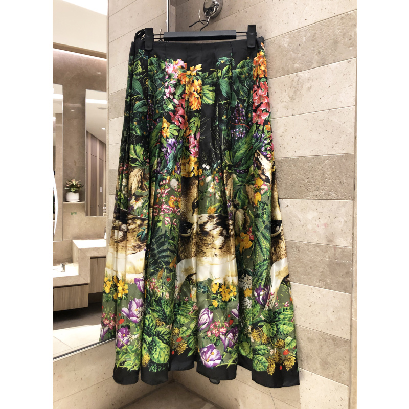 Jungle printed half length skirt 2019 summer A line skirt ladies green women s high quality