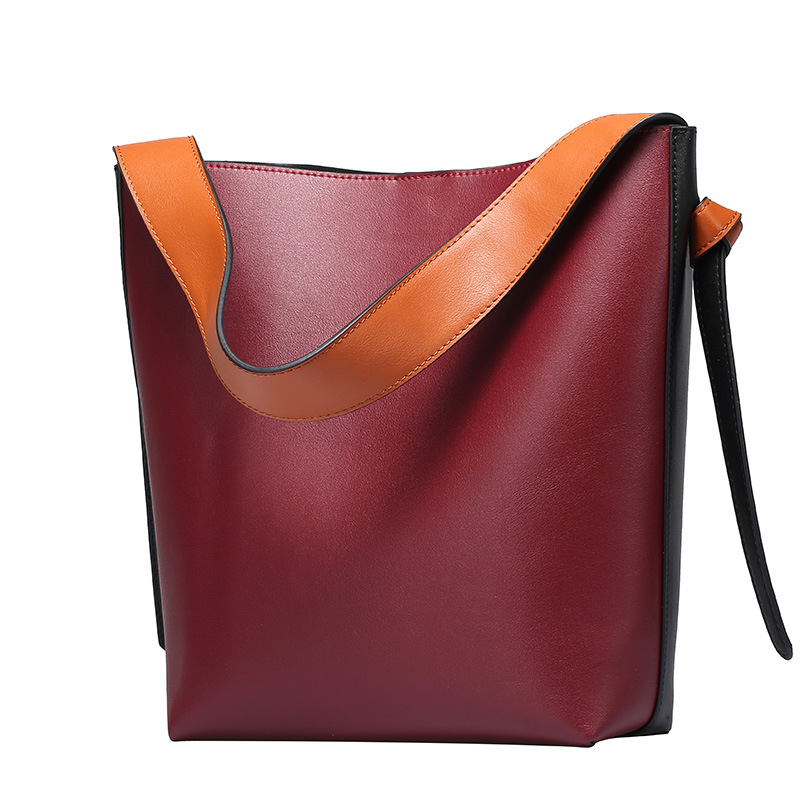 2017 Women Cow Leather Bags Patchwork Panelled Designer Bucket Handbags Casual Tote Genuine Leather Handbag Lady Shoulder Bag [whorse] new casual tote patchwork designer brand women genuine leather handbags open bucket shoulder bag messenger bags w0754