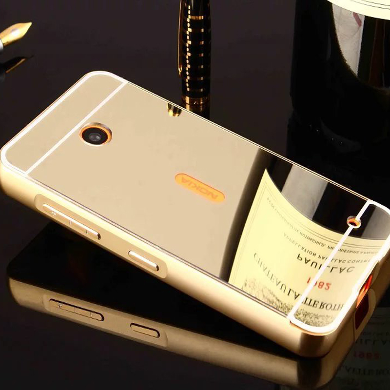 Coque Para Nokia Lumia 630 Caja Del Espejo de Lujo De Aluminio de Parachoques de