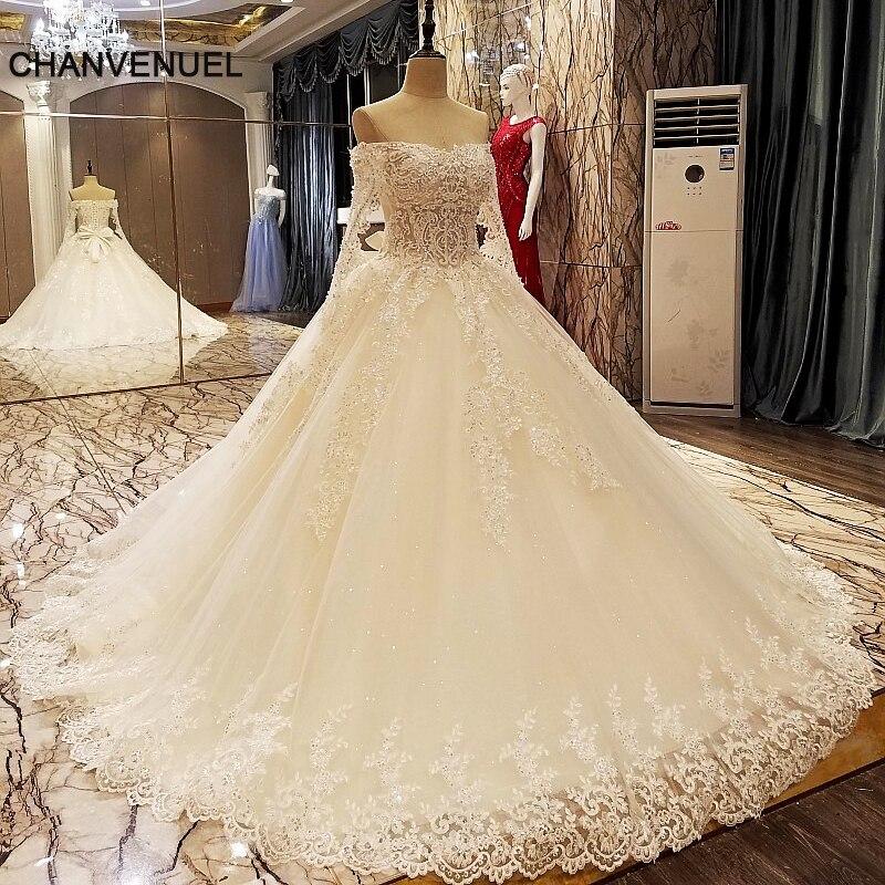 LS5606 champanhe vestido de noiva vestido de baile rendas de volta manga comprida comprimento do chão appliques laço vestido de casamento fotos reais