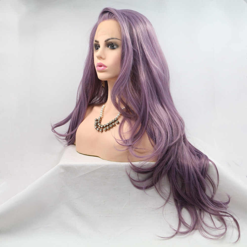 Marquesha Luxurious Looking Long Wavy Heat Resistant Fiber Synthetic Lace Front Lavender Purple Wigs For Women