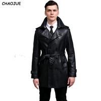 CHAOJUE Lederjacke 2018 plus größe schlank schwarz pu-leder trenchcoat für mens zweireiher leder mäntel uk mann outwear