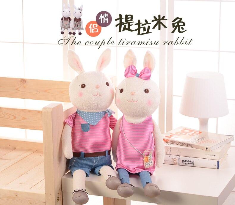 Candice guo! cute plush toy Metoo couple tiramisu rabbit bunny stuffed doll girls lovers birthday Christmas gift 60cm 1pc