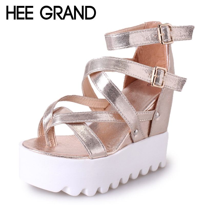 HEE GRAND 2017 New Gladiator Sandals Gold Silver Shoes Woman Summer Flip Flops Slip On Creepers Casual Women Shoes XWZ3847 2017 gladiator sandals summer platform shoes woman gold silver flats buckle women shoes fashion creepers xwz6816