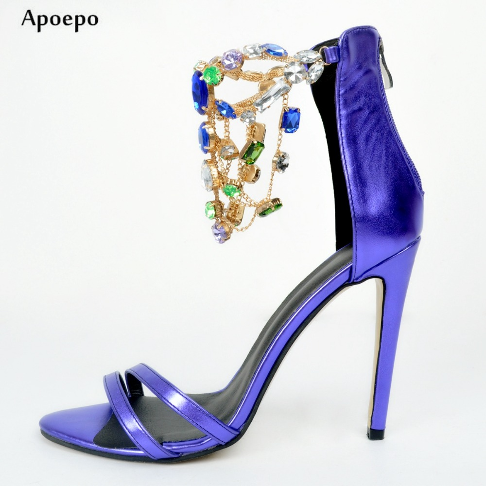 New Newest Crystal Embellished High Heel Sandal Sexy Open Toe Leather Sandal for Woman Colorful Rhinestones Thin Heels Sandal new fashion big pearls beaded woman flat shoes 2017 sexy open toe sandal crystal embellished slides