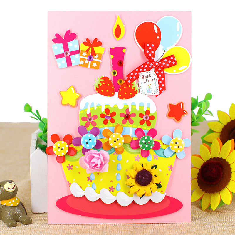Children Educational Toy DIY Cartoon Card Kraft Paper Handmade Birthday Invitation Greeting Card With Envelope Gifts 1PCS