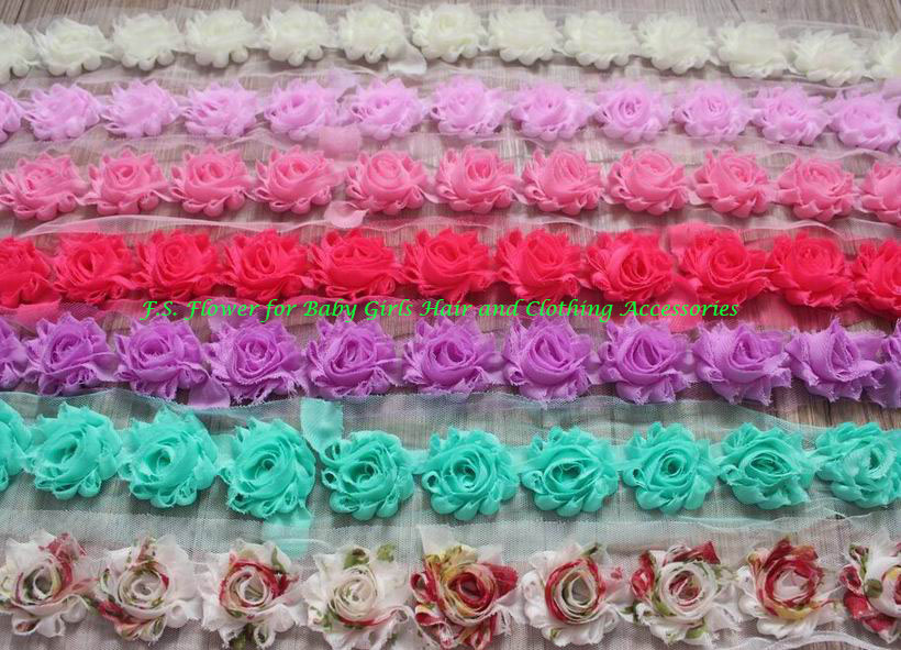 52y 1 5 Mini Shabby Rose Flower Trim Chiffon Frayed Flowers for Girls Hair Accessories Mini