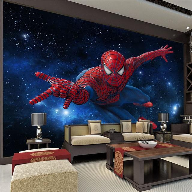 Custom Super hero Muurschildering Spider man Foto Behang Zijde ...