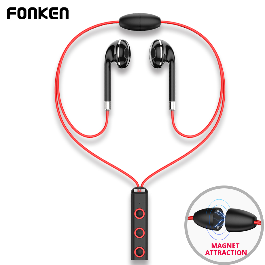 FONKEN Bluetooth Écouteurs in-ear Sans Fil Écouteurs avec microphone Sport Magnétique Écouteur écouteurs pour téléphone collier oreille bourgeons