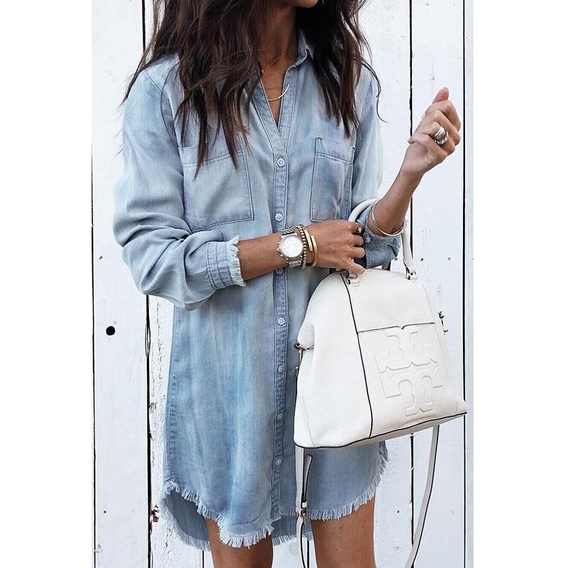Women Casual Denim Shirt Dress Ladies Long Sleeve Turn-Down Collar Office Lady Dress 2019 Spring New Fashion Shirt Dress