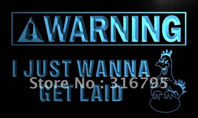 m927-b Warning I just Wanna get Laid LED Neon Light Sign wholeselling  Dropshipper