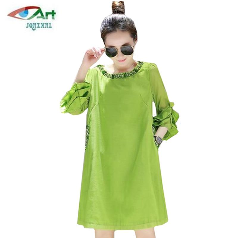 JQNZHNL2018 New summer women loose temperament Diamonds Show thin dress elegant fashion lotus leaf sleeve solid