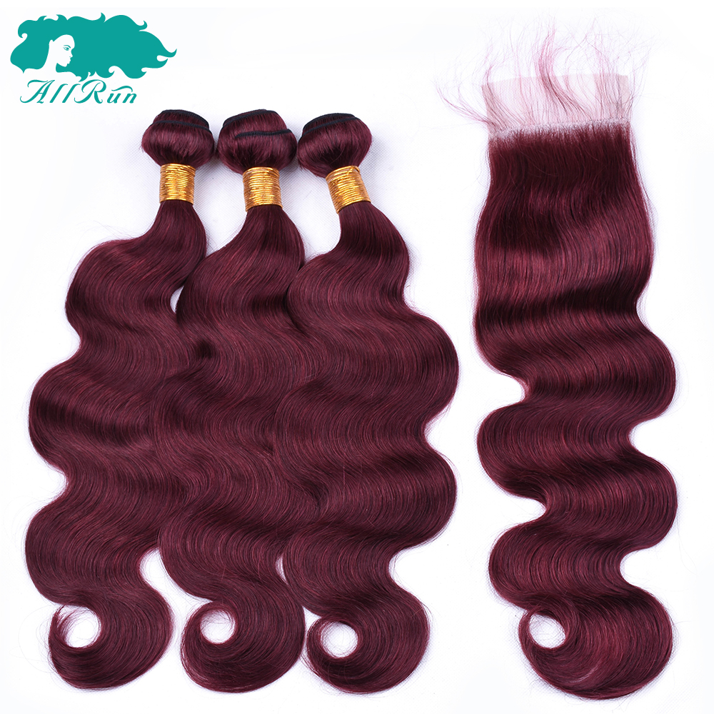 Allrun 3 Bundles with Lace closure Brazilian Dark Red color Human hair weave bundles With 4*4 Closure Non-Remy Hair Extension