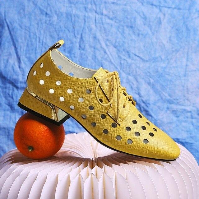 MLJUESE 2019 delle donne delle pompe autunno primavera in pelle di Mucca tacco quadrato di colore giallo punta quadrata scarpe basse tacchi alti pattini della signora del partito di formato 34-42