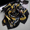 Cinturones de moda de Impresión de Sarga de Seda 100% Bufanda de Seda de Las Señoras de la Plaza Mantón de Las Bufandas Wraps 90x90 cm Accesorio de Vestir
