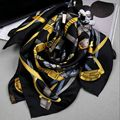 Fashion Belts Print 100% Silk Twill Scarf Women Ladies Square Silk Scarves Shawl Wraps 90x90cm Clothing Accessory
