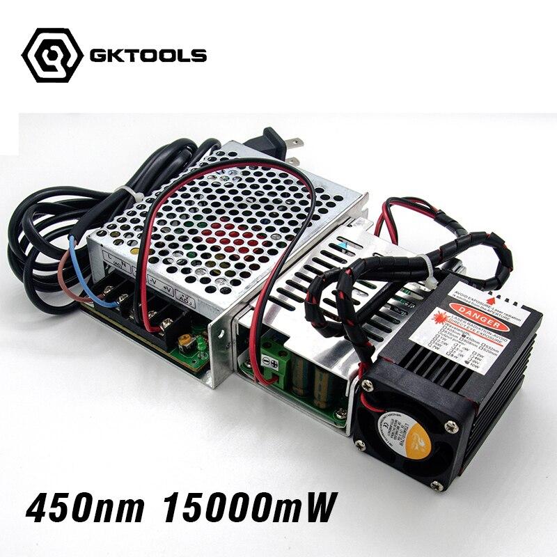450 nm, 15000 mW 12 V Module Laser haute puissance ont TTL, module Laser bleu de mise au point réglable. Accessoires pour graveur Laser bricolage.