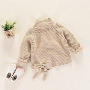 Image 3 - 秋冬子供のセーター厚手のニットプルオーバー上着タートルネック子供の女の子 RT130