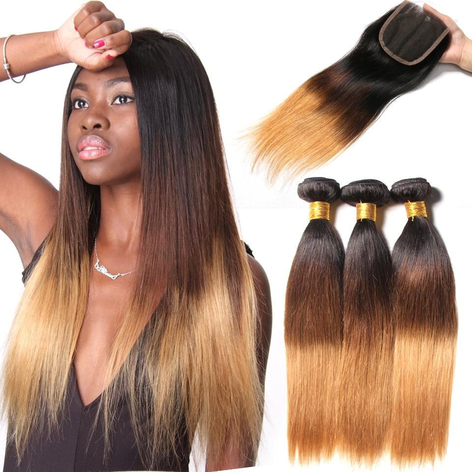 3 Bundles Ombre Brazilian Straight Human Hair Bundles With Closure Weave 1b 4 27 4x4 Free