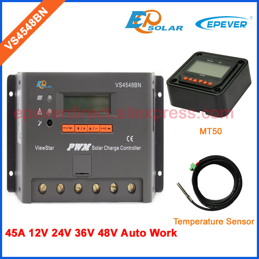 temperature sensor and MT50 remote meter solar PWM EPEVER Free shipping charging controller VS4548BN 45A 45amptemperature sensor and MT50 remote meter solar PWM EPEVER Free shipping charging controller VS4548BN 45A 45amp