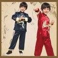 Manga longa Menino Dragão Kung Fu Chinês Tradicional Traje Top + Pants Crianças Nação Roupas Cospaly Traje Popular Chinesa 16