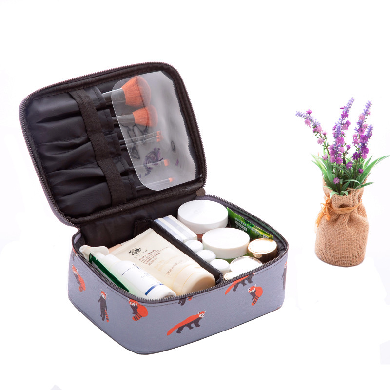 Animal Cosmetic Bag PU Leather Make Up Organizer Case Travel Waterproof Beauty Makeup Toiletry Box Travel Case Box Accessories
