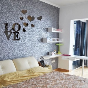 Image 3 - New style Mirror wall stickers Acrylic 3d mirror Love heart decoration Home art wall stickers