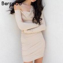 e419c9842c0c1 BerryGo zarif kapalı omuz bodycon elbise uzun kollu kısa abiye parti kulübü  beyaz elbise kadın sonbahar kış siyah seksi elbise