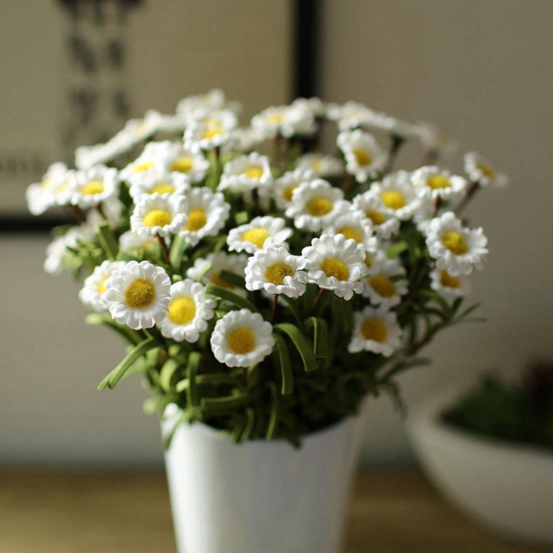 1 Ramo 8 Cabezas de flor Artificial de la Margarita Flor de Seda Falso Decoració