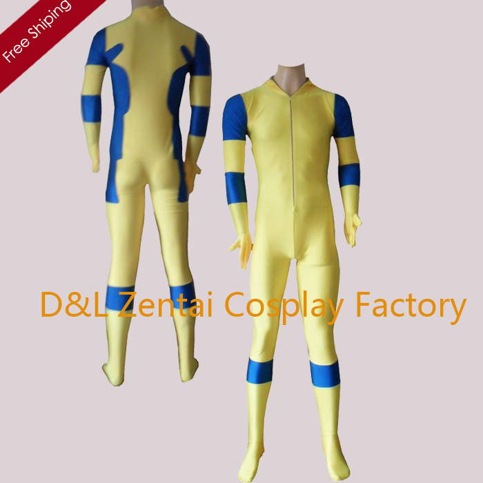 Free Shipping DHL Halloween Costumes For Men Movie Deadpool Cosplay CostumeYellow and Blue Spandex Deadpool Costume DP102