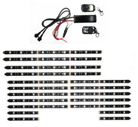 12V 18PCS RGB 5050SMD LED Car Motorcycle Glow Lights Flexible Neon Strips Kit Chopper Frame With