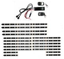 12 V 18 PCS 5050SMD RGB LED Carro Motocicleta Luzes Do Fulgor de Néon Flexível Tiras Kit Quadro Chopper Com Controle Remoto Multi Cor
