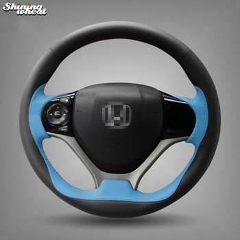 Hand Sew Black Blue Steering Wheel Cover for Honda Civic 2012- 2014 Car Special
