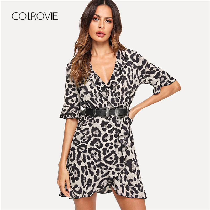 COLROVIE Leopard V Neck Short Sleeve Women Dress 2018 New Ruffle Trim Surplice Wrap Summer Dress Night Out Sexy Mini Dress