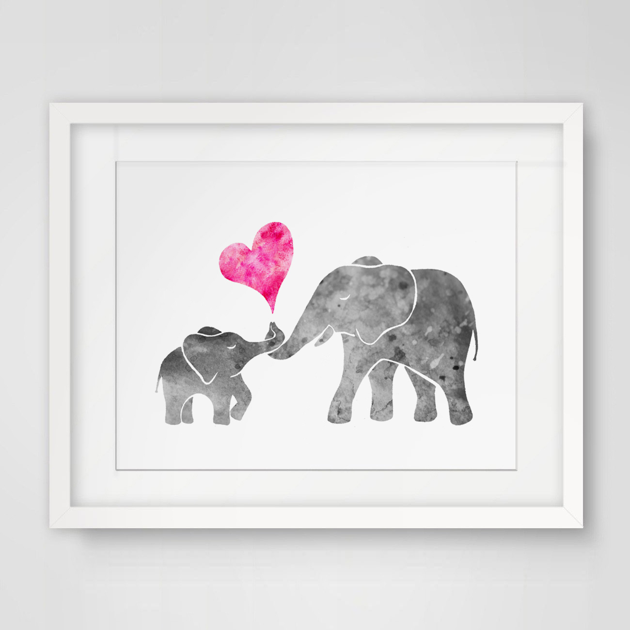 Aquarell Grau Baby Elefant mit Mom Kunstdruck Malerei Wand kunst ...