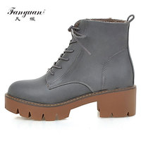 Fanyuan 2017 33 43 Lace Up Spring Autumn Winter Boots Women Shoes Warm Fur Addible Ankle