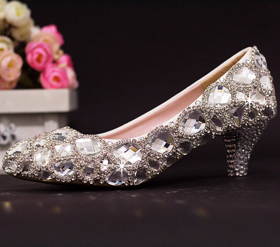 Luxury crystal wedding shoes low-heeled shoes stage shoes bridal shoes wedding shoes formal dress shoes