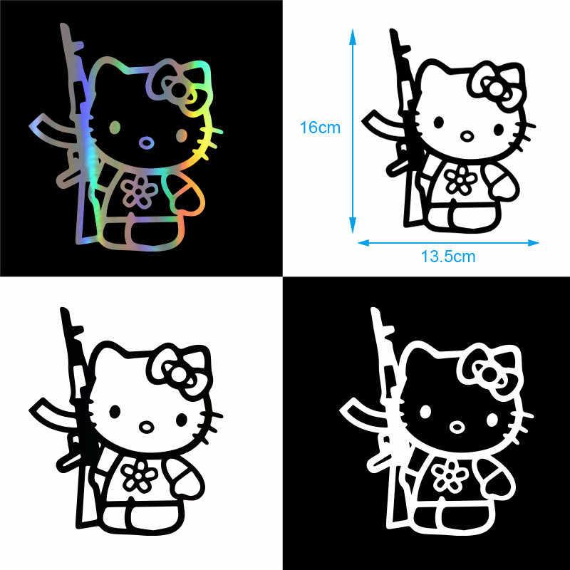 Engraçado Olá Kitty Rifle Vinyl Sticker Decal Engraçados Personalidade Acessórios de Moda Carl Decorativos Adesivos de Carro Carro Styling 13.5*16 CM