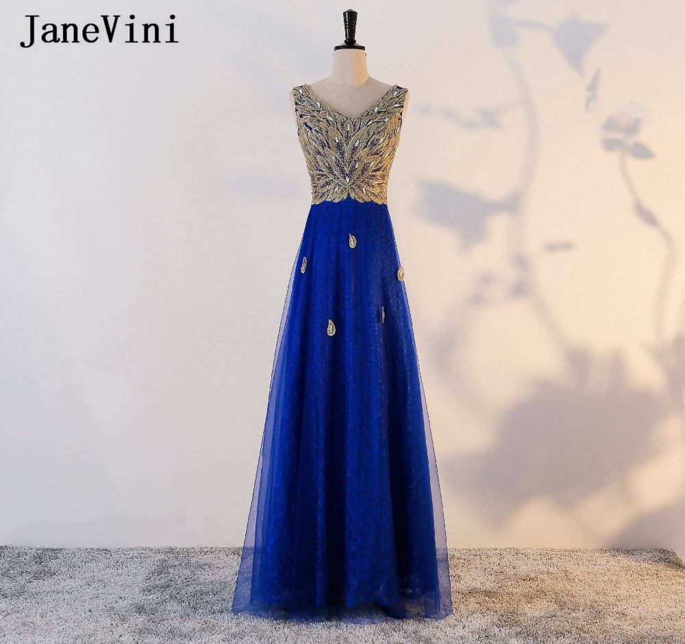 JaneVini 2018 Dark Blue Long   Bridesmaid     Dresses   Girl With Sequins Crystal V-Neck Sleeveless A-Line Vintage Prom Party   Dress   Gown