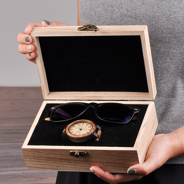 BOBO BIRD Classic Men Custom Wood Watch and Wooden Sunglasses Suit Present Box Gift Set for Dad Fathers Day