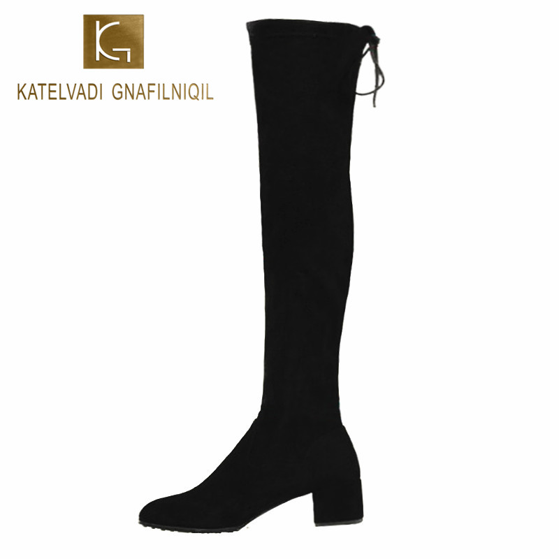 Women Snow Shoes Over The Knee Boots With Fur Black Thigh High Boots 2018 Ladies Heel Comfortable Winter Boots Shoes Woman K-062 2017 sexy thick bottom women s over the knee snow boots leather fashion ladies winter flats shoes woman thigh high long boots