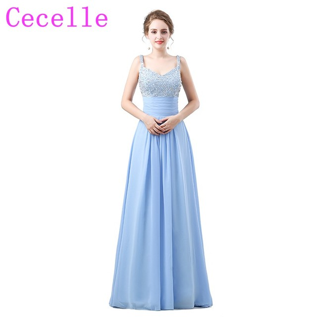 Sky Blue Formal Long Beach Bridesmaid Dresses V Neck Beaded Top Chiffon Skirt A Line