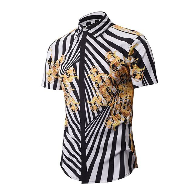 2017 neue männer Fancy Shirts Mode Gold Gestreiftes Hemd Männer Retro  Floral Hawaiihemd Casual Kurzarm Barock f6fa665ea3