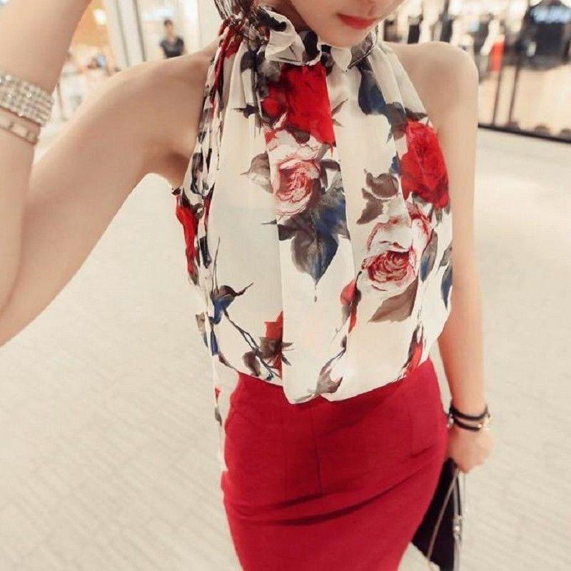 Floral Chiffon Summer Women's Tunic Blouse Sleeveless Ruffles Collar White Shirt Female OL Blusas Feminino Blouse Plus Size