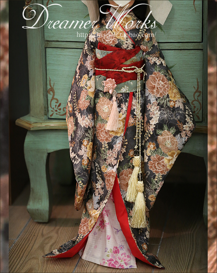 1/4 scale BJD doll clothing Japanese kimono for BJD/SD accessory.Not included doll,shoes,wig and other 17C3357